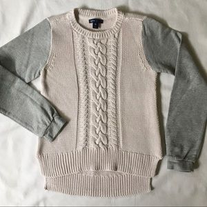 Gap sweater size 12 large girls cable white gray